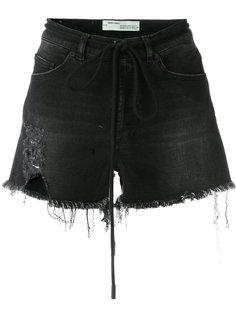 джинсовые шорты с необработанным краем Off-White