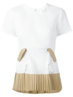 футболка с плиссированным подолом Sacai
