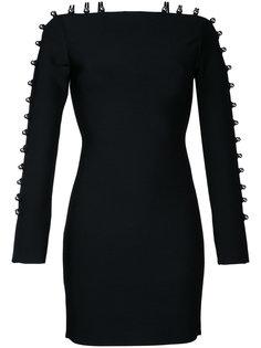 платье мини с лямками на рукавах David Koma