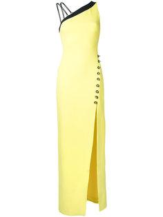 длинное платье с асимметричными плечами  David Koma