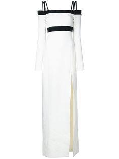 платье с открытыми плечами и боковым разрезом David Koma