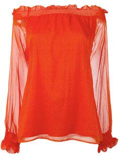 прозрачная блузка с открытыми плечами P.A.R.O.S.H.