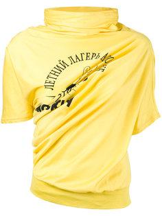 футболка с принтом и драпировкой Junya Watanabe Comme Des Garçons