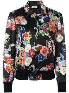 куртка-бомбер с цветочным принтом  Saint Laurent