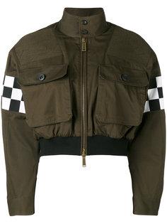 укороченная куртка бомбер с деталями в клетку Dsquared2