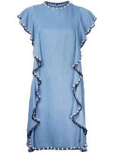 декорированное джинсовое платье с оборками Huishan Zhang