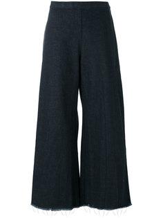 широкие укороченные джинсы с бахромой Simon Miller