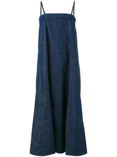 джинсовое платье на тонких лямках 6397