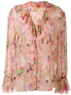 floral ruffle neck blouse Blumarine