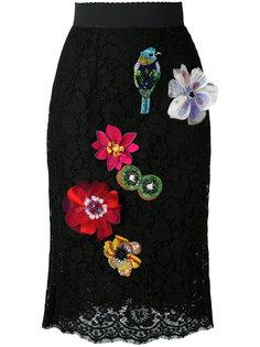юбка-карандаш с вышивкой и аппликацией Dolce & Gabbana