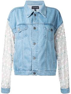 джинсовая куртка с узором в горох на рукавах Anouki