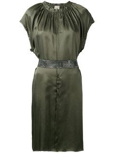 платье с короткими рукавами и поясом Nude