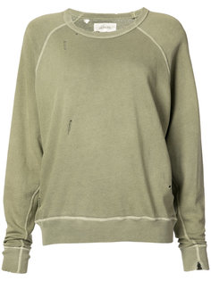 distressed crew neck sweatshirt The Great
