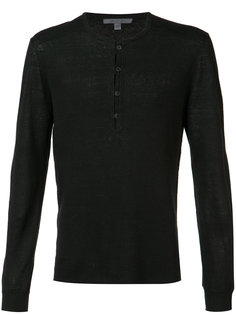 reverse print V-neck sweater John Varvatos