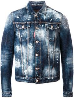 джинсовая куртка с эффектом разбрызганной краски Dsquared2