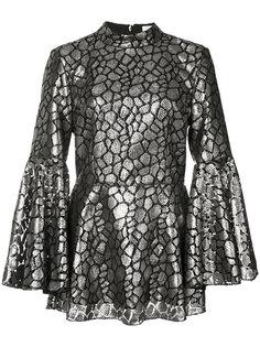 flared sleeves metallic blouse  Rebecca Vallance