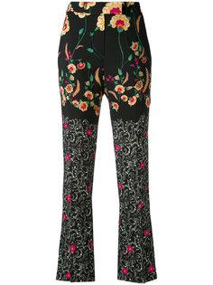 укороченные брюки с цветочным принтом Etro