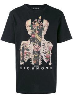 футболка с принтом скелета John Richmond