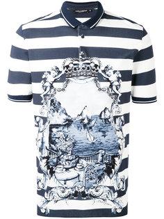 полосатая футболка-поло с принтом Dolce & Gabbana