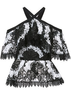 off-the-shoulder lace top Christian Siriano