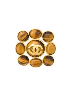 брошь с тигровым глазом и логотипом СС Chanel Vintage