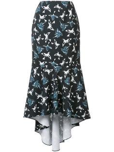 асимметричная юбка с принтом птиц Christian Siriano