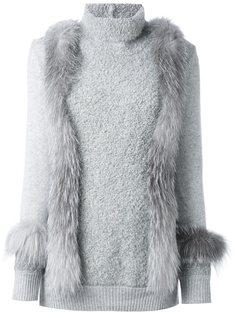 свитер с меховой отделкой  Agnona