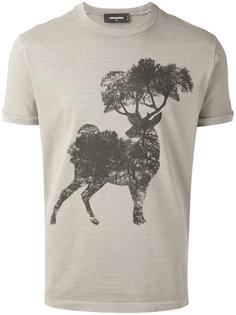 футболка с принтом оленя Dsquared2