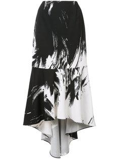 brush stroke asymmetric skirt  Christian Siriano