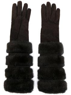 длинные перчатки с меховой отделкой Loro Piana