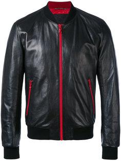 кожаная куртка с контрастными молниями и подкладкой Dolce & Gabbana