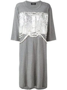 high shine applique T-shirt dress  Zucca