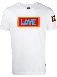 футболка с принтом надписи Fendi