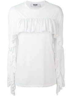 футболка с длинными рукавами и рюшами MSGM