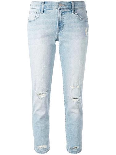 укороченные джинсы с рваной отделкой J Brand