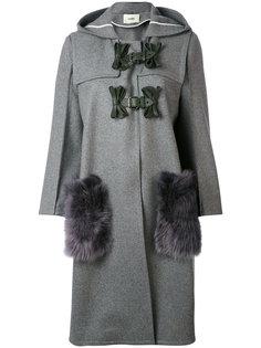 однобортное пальто с меховыми карманами Fendi