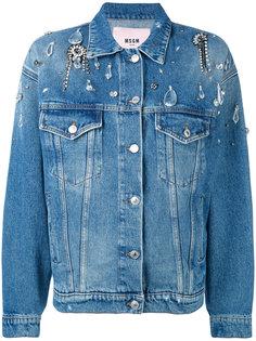 джинсовая куртка мешковатого кроя с кристаллами MSGM
