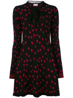 трикотажное платье с принтом сердец Red Valentino