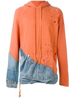 denim patchwork hoodie Greg Lauren