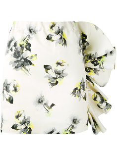 юбка с оборками на подоле и цветочным принтом MSGM