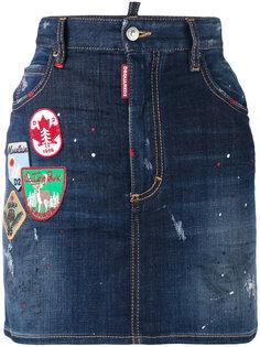 джинсовая мини-юбка с нашивками Dsquared2