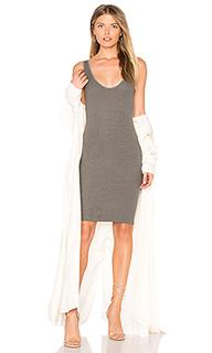 Мини платье на шлейках из ткани в рубчик - Enza Costa