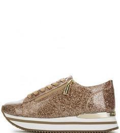 Золотистые кроссовки на толстой подошве Fornarina
