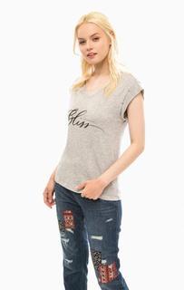 Серая хлопковая футболка с принтом S.Oliver