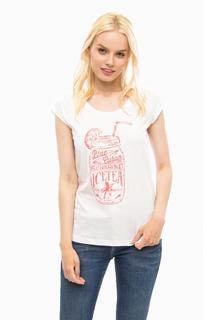 Белая футболка с контрастным принтом Mustang
