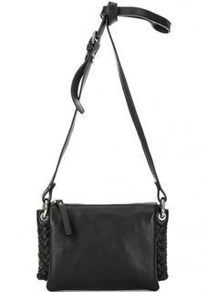 Черная кожаная сумка с тремя отделами Gianni Conti