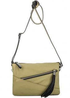 Кожаная сумка через плечо цвета хаки Gianni Conti