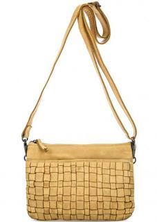 Желтая кожаная сумка через плечо Gianni Conti