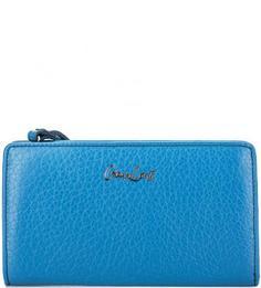 Синий кожаный кошелек на молнии Gianni Conti