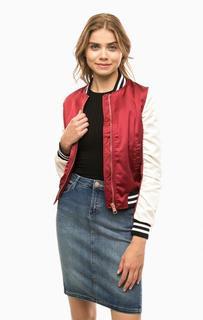 Куртка-бомбер бордового цвета Lee